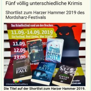 Auf leeren Seiten ist nominiert für die Shortlist Harzer Hammer 2019