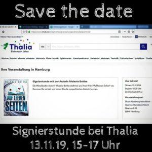 Signierstunde AUf leeren Seiten Thalia Hamburg Wandsbek